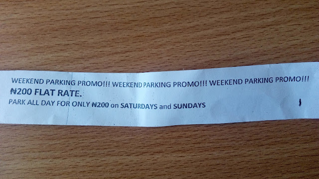 WEEKEND PARKING PROMO!!! 200 NGN FLAT RATE. PARK ALL DAY FOR ONLY 200 NGN on Saturdays and Sundays