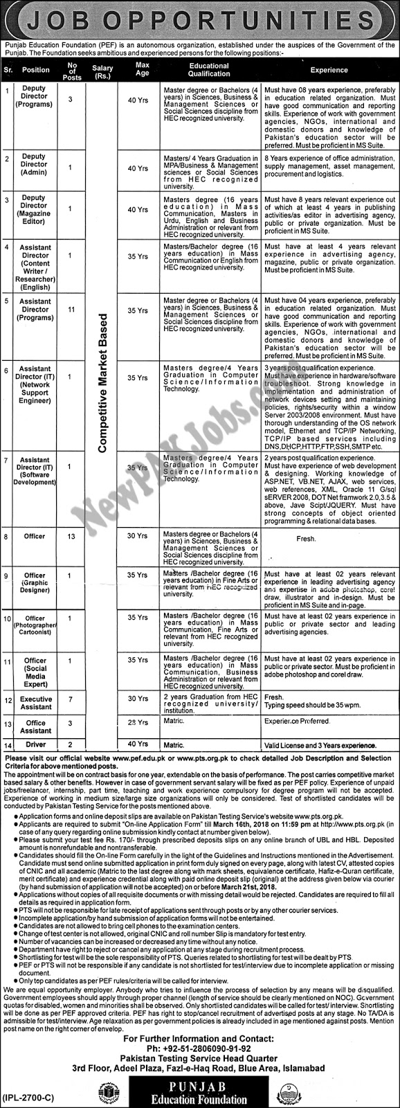 PTS Jobs in Punjab Education Foundation PEF, March 2018