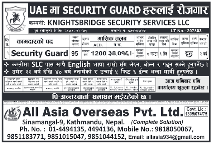 Jobs in UAE for Nepali, Salary Rs 34,016