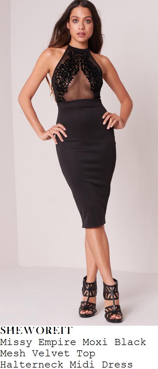 lauren-pope-missy-empire-moxi-black-mesh-velvet-top-halterneck-midi-dress