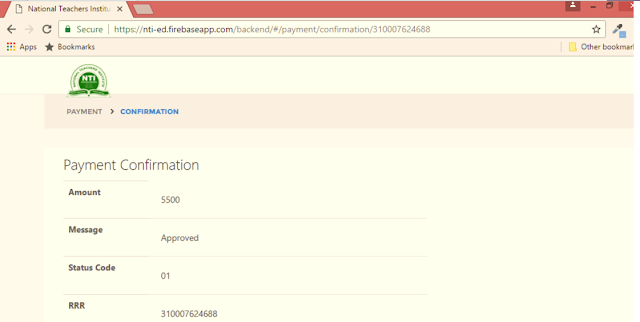 NTI Registration Payment Confirmation Page