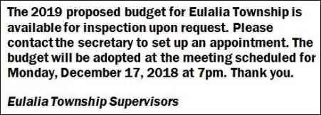 2019 Eulalia Township Budget Available