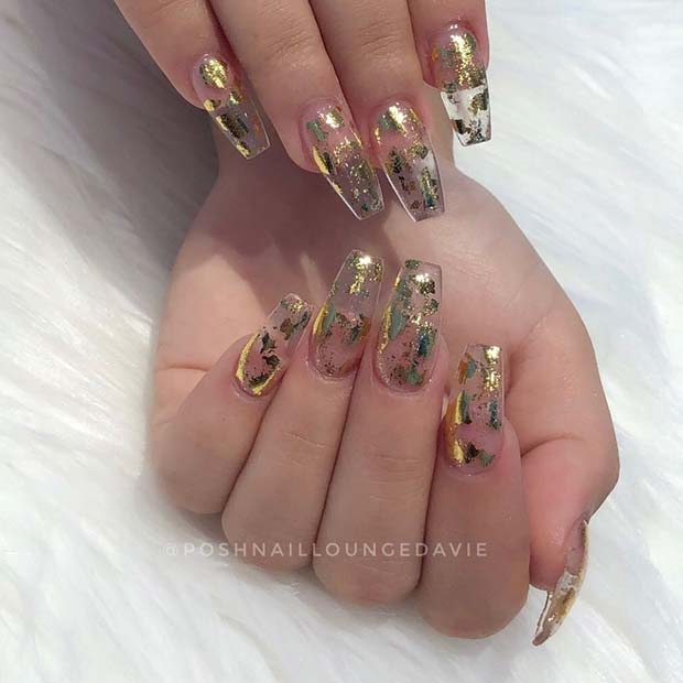 Clear Nails With Gold Glitter