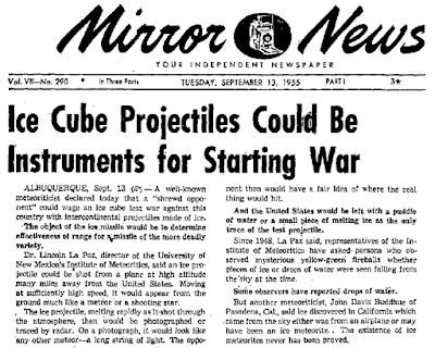 Ice Cube Projectiles Could Be Intruments for Starting War - Mirror News 9-13-1955