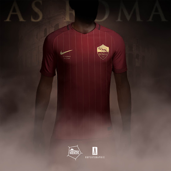 Classy Nike AS Roma 17-18 90-Years Anniversary Concept Kits Revealed ... 50b7ae41d