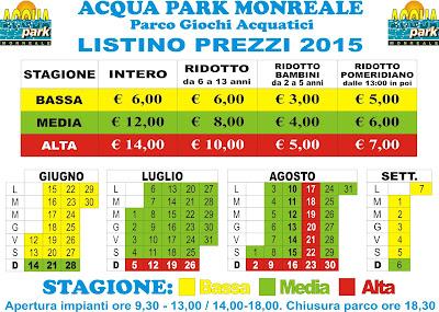 Calendario e Tariffe Acqua Park Monreale