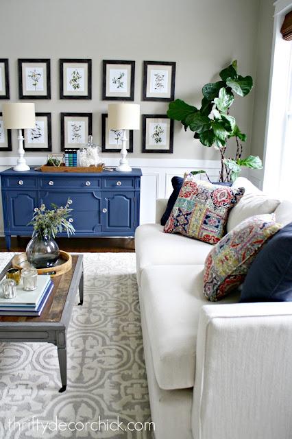 deep, modern sofa in traditional room