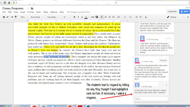 Using Google Docs for descriptive feedback and formative assessment