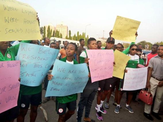 Super Falcons stage protest in front of National Assembly(Photos )