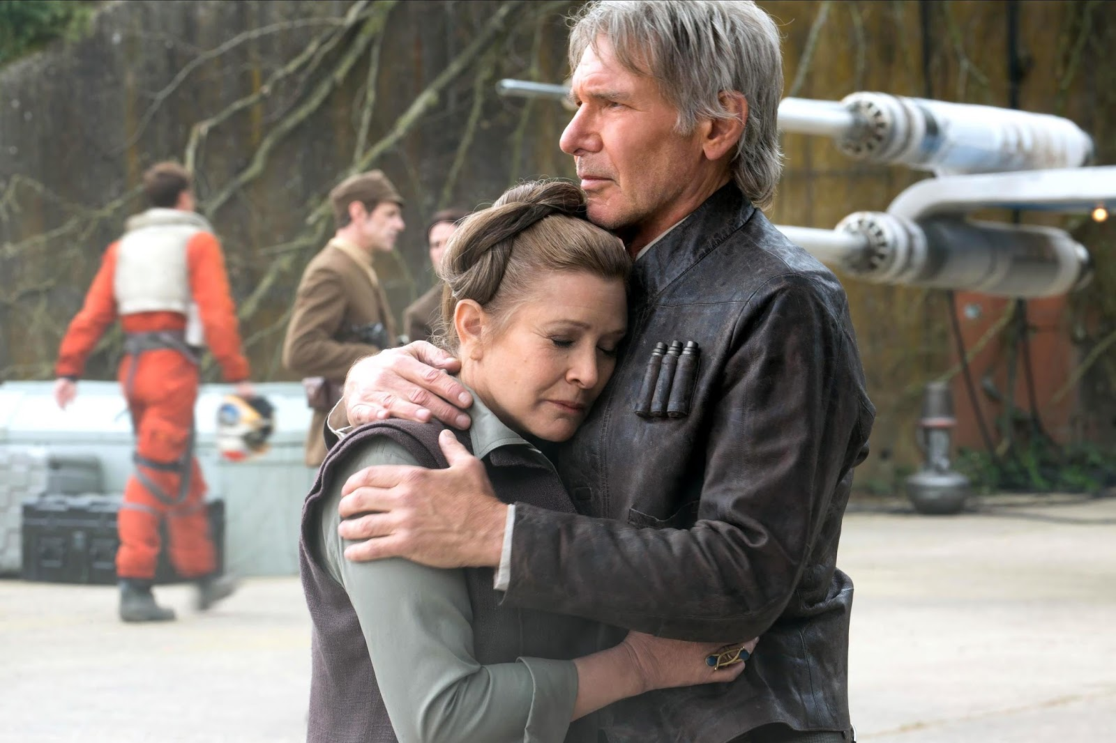 Carrie Fisher and Harrison Ford star in Star Wars: The Force Awakens.
