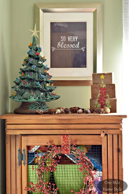 Vintage Ceramic Christmas Tree Vignette | Christmas Home Tour - One Mile Home Style
