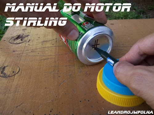 Manual do motor Stirling, técnica para encontrar o centro da lata