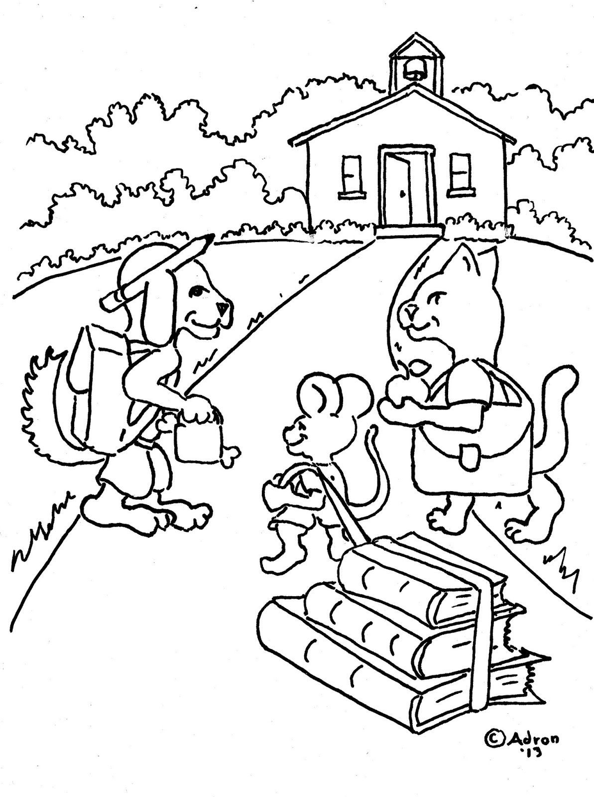 Coloring Pages for Kids by Mr. Adron: Animals Go To School