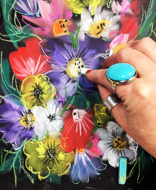 a peek inside my process: pan pastel flowers