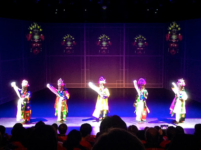 Masked prayer scene from The Queen's Banquet, traditional dance show, in Busan, South Korea