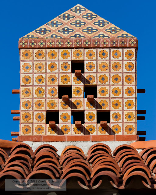 a photo showing the detailed tiles at scotty's castle