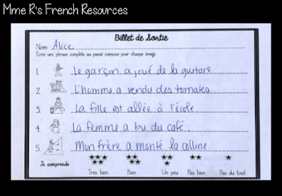 These exit tickets come included in many French grammar and vocabulary packets from Mme R's French Resources.