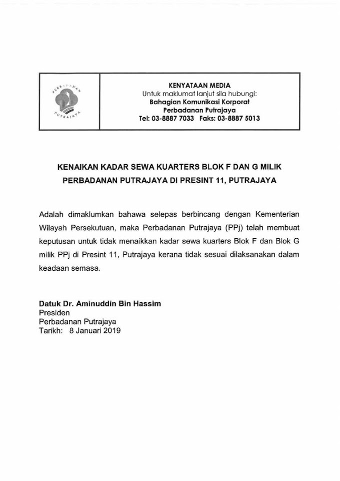 Kerajaan PH Buat uTurn Lagi Isu Kenaikan Harga Sewa Kuarters Di Putrajaya
