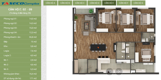 Thiết kế căn hộ E Taseco Complex
