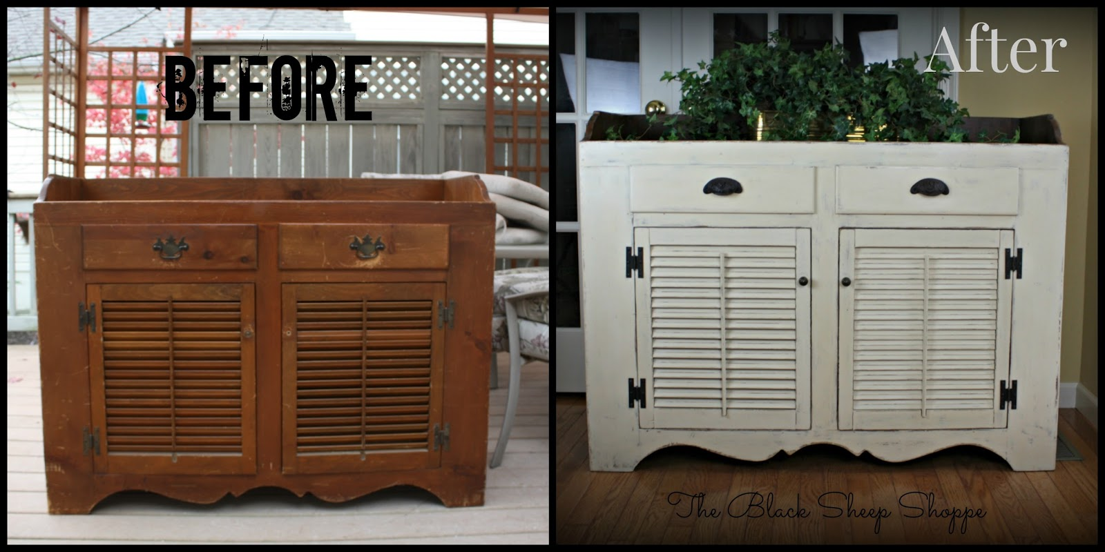 Vintage dry sink before and after.