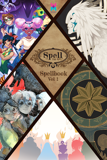 A cover of the Spellbook sectioned into parts representing the campaigns, one with a bird-cat-like creature, others with people and patterns.