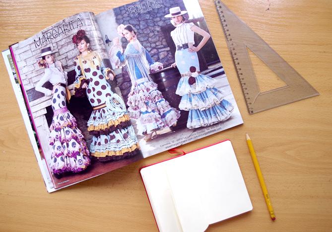 Revista de flamenca, cuaderno para apuntar, regla y lápiz