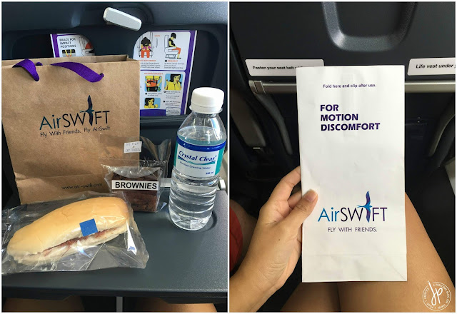 AirSWIFT food provided at the boarding gate