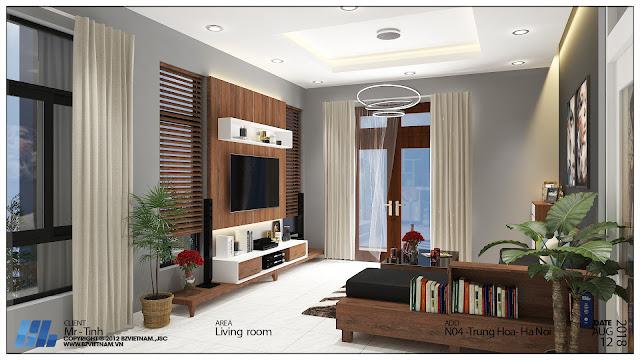 Mẫu thiết kế nội thất phòng khách nhà liền kề thanh hà cienco 5