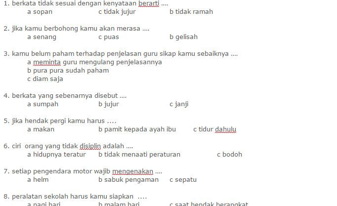 Download Contoh Soal UKK PKN Kelas 2 SD Semester 2 KTSP