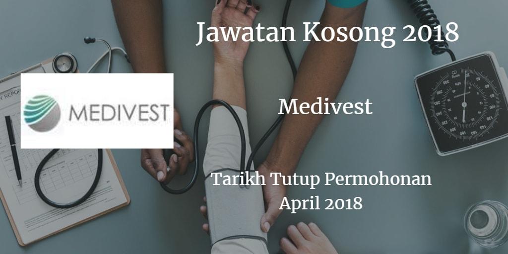Jawatan Kosong MEDlVEST SDN BHD April 2018