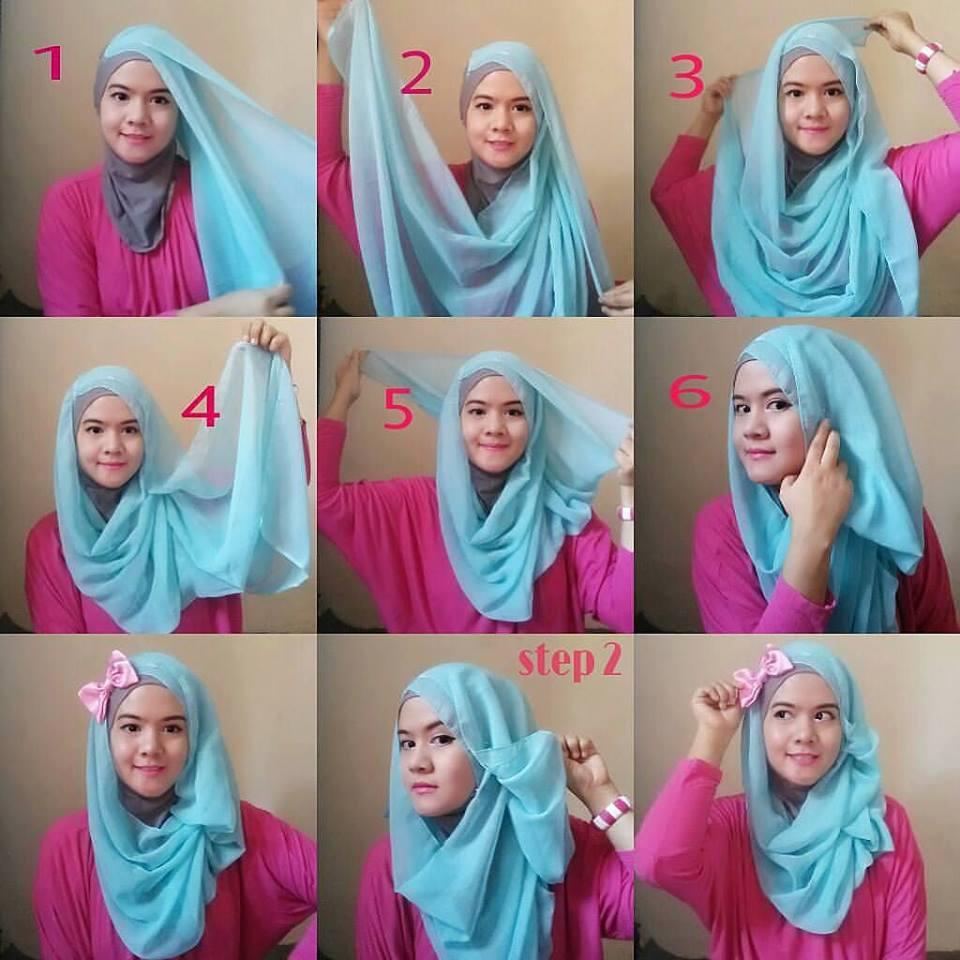 Cara Memakai Hijab Segi Empat Untuk Pesta Gaya Modern Tutorial