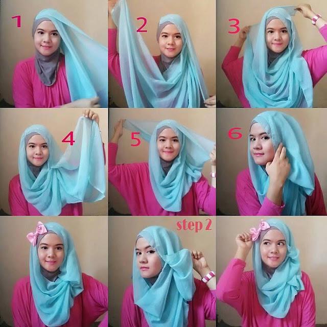 Tutorial Hijab paris segi empat ukuran 109 × 109 cm