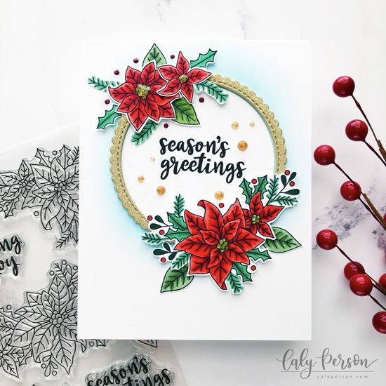 Deck the Halls with Inky Paws Week - Day 4 - Caly Person | Poinsettia Blooms Stamp Set by Newton's Nook Designs #newtonsnook #handmade