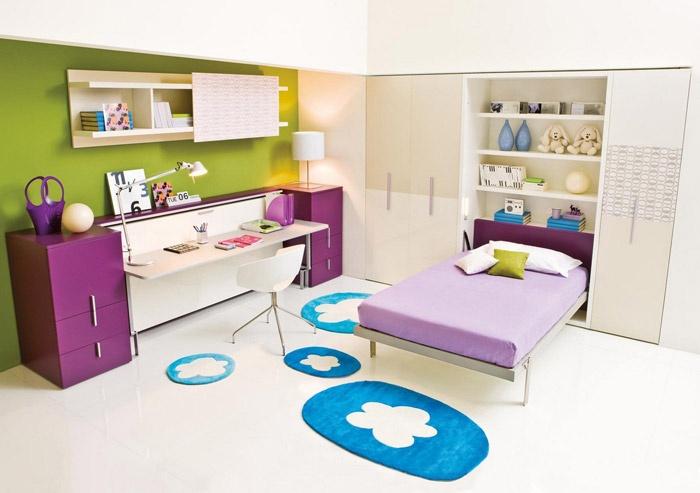 Dormitorios en verde blanco y morado dormitorios colores - Idee per camerette piccole ...