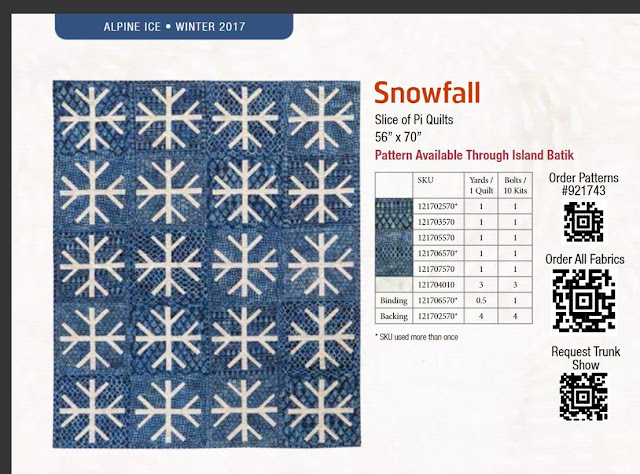 Snowfall quilt using Alpine Ice Island Batik fabrics