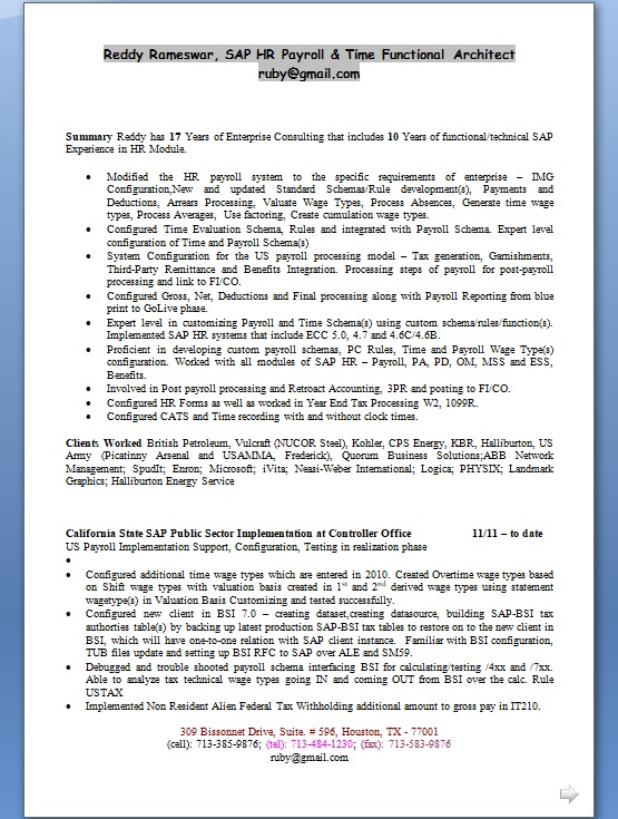 SAP HR Payroll  Time Functional Architect Sample Resume Format in - functional architect sample resume