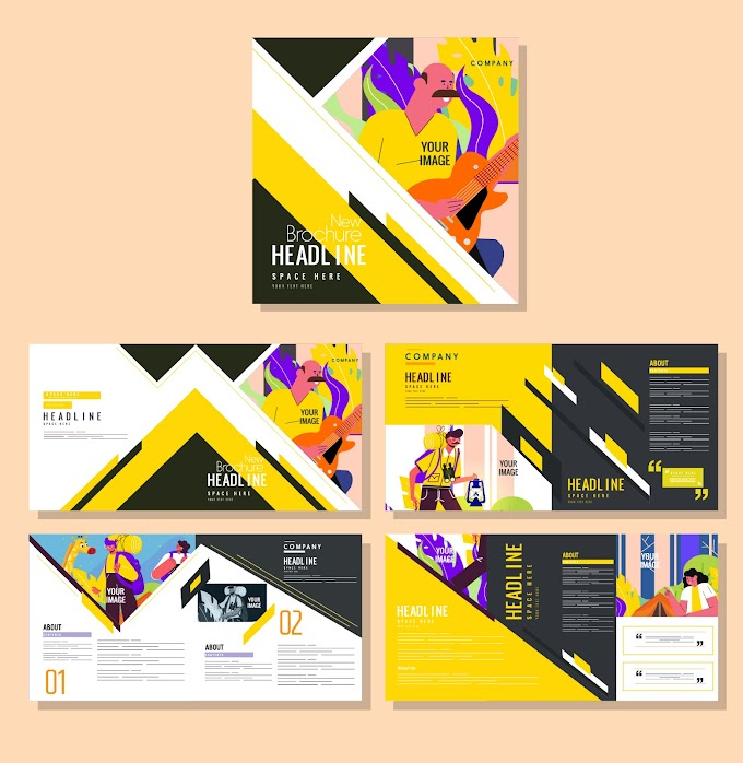 Brochure design templates human activities sketch colorful classic design Free vector