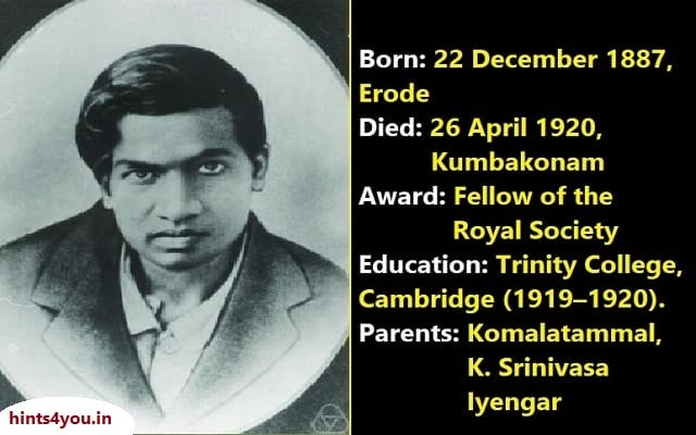 Srinivasa Ramanujan was a great Indian mathematician. He is counted among the greatest mathematical thinkers of modern times. He did not get any special training in mathematics, yet he made significant contributions in the fields of analysis theory.