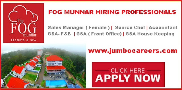 Munnar hotel job salary, Latest Munnar Hotel jobs 2018.