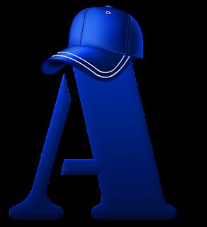 Alfabeto Azul con Gorra de Beisbol.