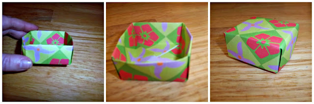 Three photos of a finished origami gift box.