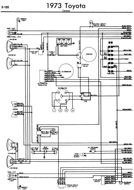 repair-manuals: Toyota Corona 1973 Wiring Diagrams