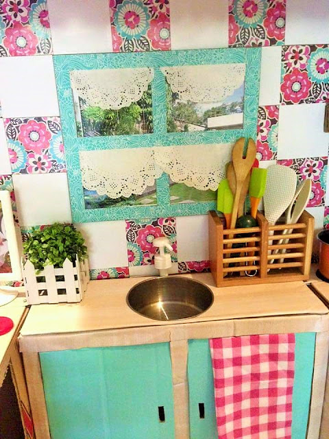 how to build a mini play kitchen using cardboard