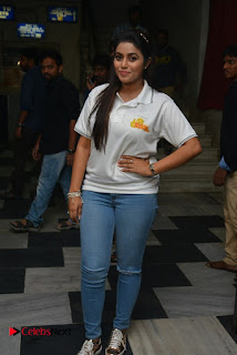 Actress Poorna Stills in Jeans with Jayammu Nischayammu Raa Team at Satyam Theatre 0012