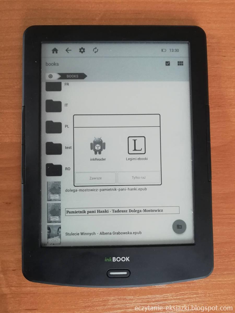 Owieranie e-booka w InkBOOK LUMOS - wybór aplikacji
