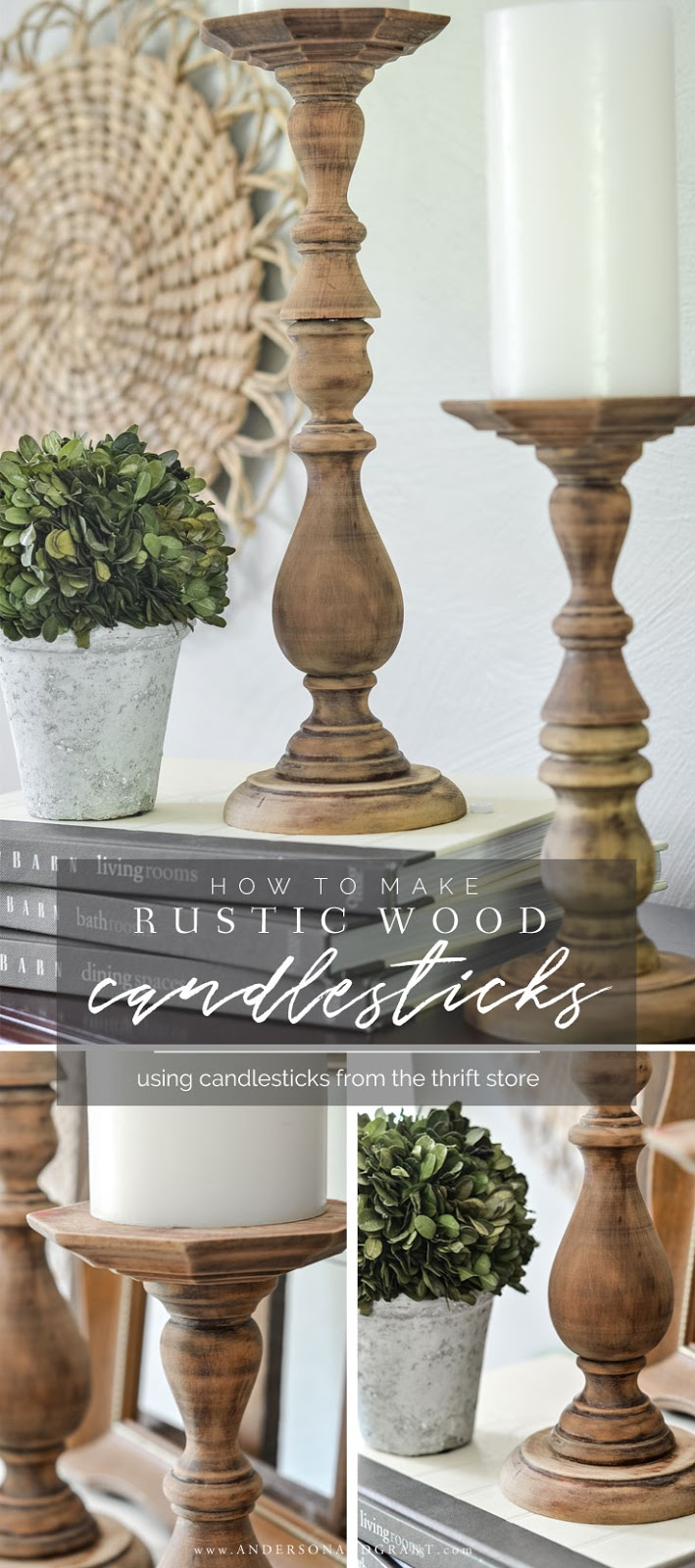 Learn to make these easy DIY rustic wood candlesticks using a thrift store find. #fixerupper #DIY #howtomake #thriftstore  |  www.andersonandgrant.com