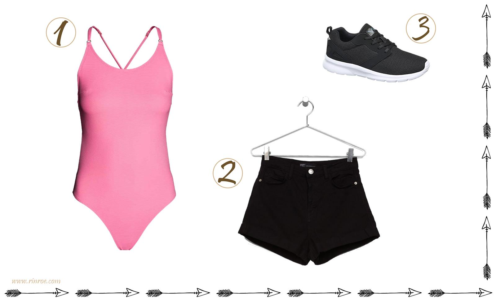 sportowa stylizacja czarne szorty wysoki stan strój kąpielowy
