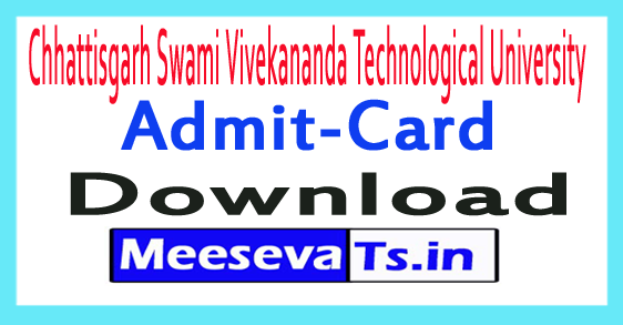 Chhattisgarh Swami Vivekananda Technological University CSVTU Admit Card Download