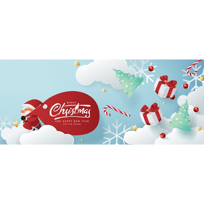 Paper creative christmas card free vector