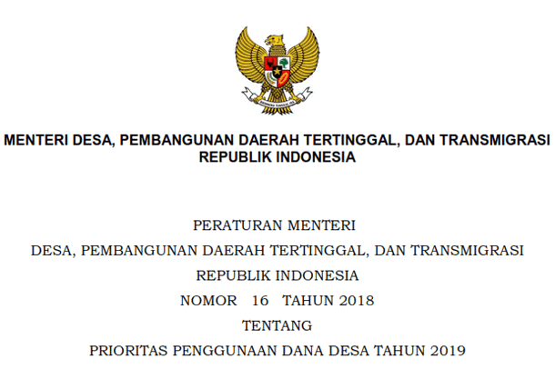 Permendesa PDTT Nomor 16 Tahun 2018 Tentang Penggunaan Dana Desa Tahun 2019